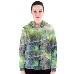 Digitally Painted Abstract Style Watercolour Painting Of A Peacock Women s Zipper Hoodie