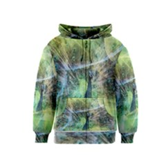 Digitally Painted Abstract Style Watercolour Painting Of A Peacock Kids  Zipper Hoodie
