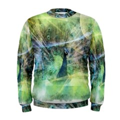 Digitally Painted Abstract Style Watercolour Painting Of A Peacock Men s Sweatshirt