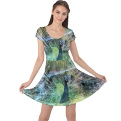 Digitally Painted Abstract Style Watercolour Painting Of A Peacock Cap Sleeve Dresses