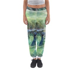 Digitally Painted Abstract Style Watercolour Painting Of A Peacock Women s Jogger Sweatpants