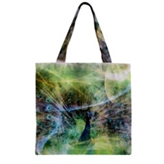 Digitally Painted Abstract Style Watercolour Painting Of A Peacock Zipper Grocery Tote Bag
