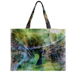 Digitally Painted Abstract Style Watercolour Painting Of A Peacock Zipper Mini Tote Bag