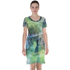 Digitally Painted Abstract Style Watercolour Painting Of A Peacock Short Sleeve Nightdress