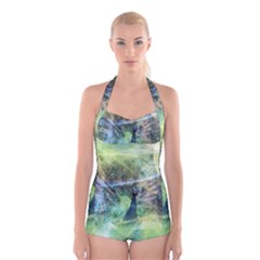 Digitally Painted Abstract Style Watercolour Painting Of A Peacock Boyleg Halter Swimsuit