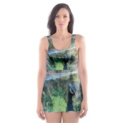 Digitally Painted Abstract Style Watercolour Painting Of A Peacock Skater Dress Swimsuit