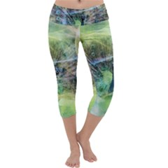 Digitally Painted Abstract Style Watercolour Painting Of A Peacock Capri Yoga Leggings