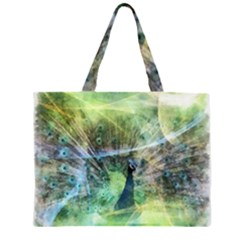 Digitally Painted Abstract Style Watercolour Painting Of A Peacock Large Tote Bag