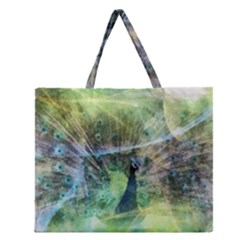 Digitally Painted Abstract Style Watercolour Painting Of A Peacock Zipper Large Tote Bag