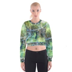 Digitally Painted Abstract Style Watercolour Painting Of A Peacock Women s Cropped Sweatshirt
