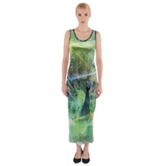 Digitally Painted Abstract Style Watercolour Painting Of A Peacock Fitted Maxi Dress