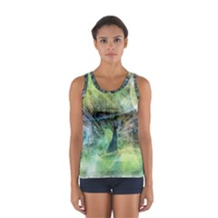 Digitally Painted Abstract Style Watercolour Painting Of A Peacock Women s Sport Tank Top