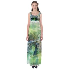 Digitally Painted Abstract Style Watercolour Painting Of A Peacock Empire Waist Maxi Dress