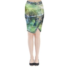 Digitally Painted Abstract Style Watercolour Painting Of A Peacock Midi Wrap Pencil Skirt