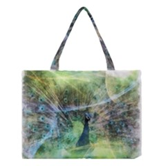 Digitally Painted Abstract Style Watercolour Painting Of A Peacock Medium Tote Bag