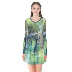 Digitally Painted Abstract Style Watercolour Painting Of A Peacock Flare Dress