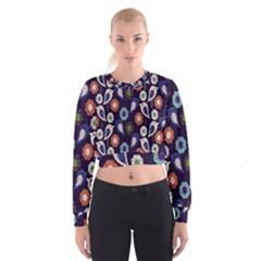 Cute Birds Pattern Women s Cropped Sweatshirt