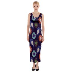 Cute Birds Pattern Fitted Maxi Dress