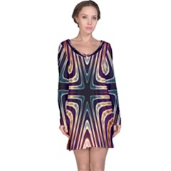 Colorful Seamless Vibrant Pattern Long Sleeve Nightdress