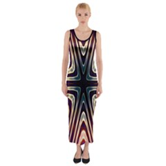 Colorful Seamless Vibrant Pattern Fitted Maxi Dress