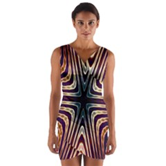 Colorful Seamless Vibrant Pattern Wrap Front Bodycon Dress