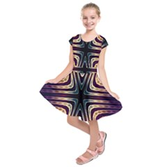 Colorful Seamless Vibrant Pattern Kids  Short Sleeve Dress