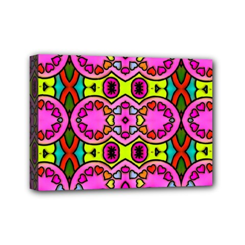 Love Hearths Colourful Abstract Background Design Mini Canvas 7  x 5