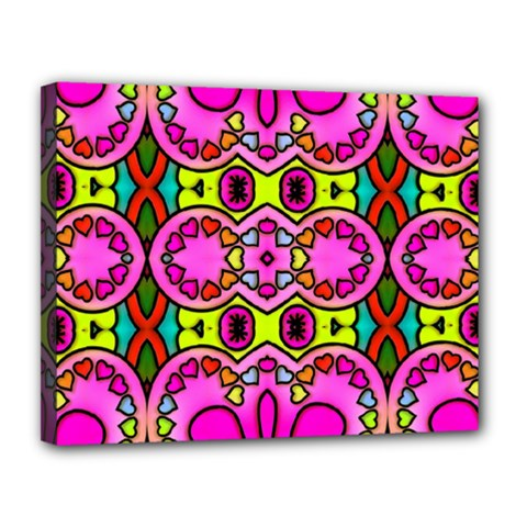 Love Hearths Colourful Abstract Background Design Canvas 14  x 11