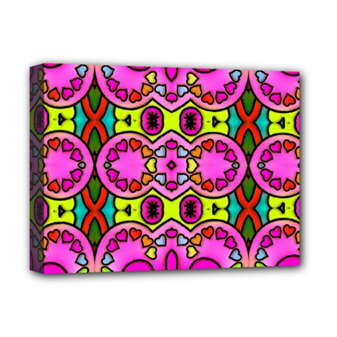 Love Hearths Colourful Abstract Background Design Deluxe Canvas 16  x 12