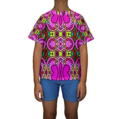 Love Hearths Colourful Abstract Background Design Kids  Short Sleeve Swimwear
