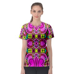 Love Hearths Colourful Abstract Background Design Women s Sport Mesh Tee