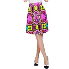 Love Hearths Colourful Abstract Background Design A-Line Skirt