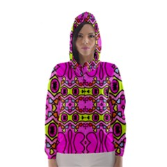 Love Hearths Colourful Abstract Background Design Hooded Wind Breaker (Women)