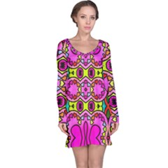 Love Hearths Colourful Abstract Background Design Long Sleeve Nightdress