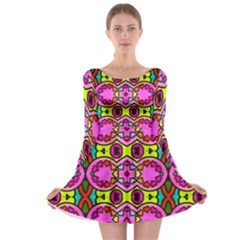 Love Hearths Colourful Abstract Background Design Long Sleeve Skater Dress