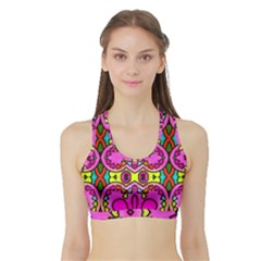 Love Hearths Colourful Abstract Background Design Sports Bra with Border