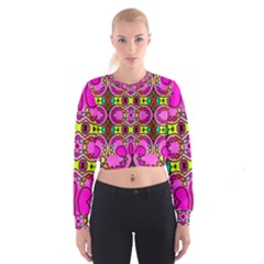 Love Hearths Colourful Abstract Background Design Women s Cropped Sweatshirt