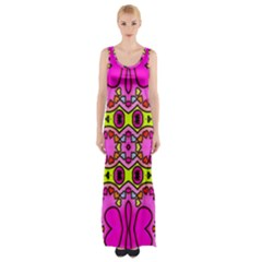 Love Hearths Colourful Abstract Background Design Maxi Thigh Split Dress
