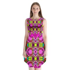 Love Hearths Colourful Abstract Background Design Sleeveless Chiffon Dress
