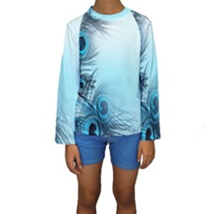 Feathery Background Kids  Long Sleeve Swimwear