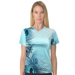 Feathery Background Women s V-Neck Sport Mesh Tee