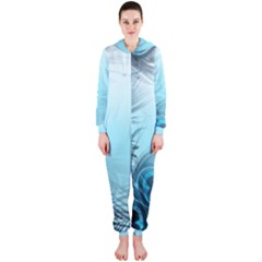 Feathery Background Hooded Jumpsuit (Ladies)