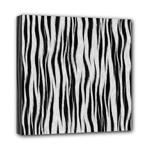 Black White Seamless Fur Pattern Mini Canvas 8  x 8