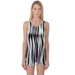 Black White Seamless Fur Pattern One Piece Boyleg Swimsuit