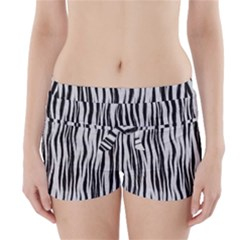 Black White Seamless Fur Pattern Boyleg Bikini Wrap Bottoms