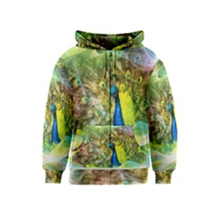Peacock Digital Painting Kids  Zipper Hoodie