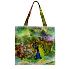 Peacock Digital Painting Zipper Grocery Tote Bag
