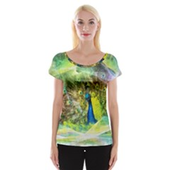 Peacock Digital Painting Women s Cap Sleeve Top