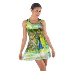 Peacock Digital Painting Cotton Racerback Dress