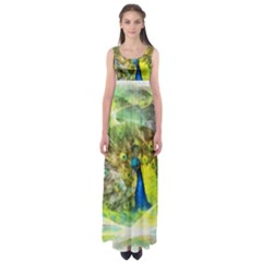 Peacock Digital Painting Empire Waist Maxi Dress